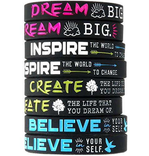 Inkstone (12-Pack)'Dream, Believe, Inspire, Create' Silicone Wristbands - Wholesale Bulk Pack of Inspirational Message Bracelets