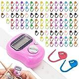 Contador de punto de ganchillo para tejer en punto, contador digital de dedos, contador de puntadas para ganchillo, contador de dedos con 100 marcadores de puntada (color al azar)