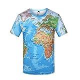 Unisex T Shirts Divertido 3D Impreso Mapa Mapa Mapa Gráfico Personalizado De Manga Corta Tops Tees Mens Boys Girls Niños S - 3XL-Mapa del Mundo_M