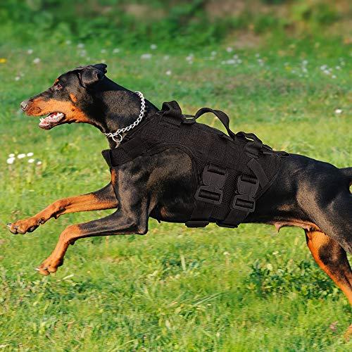 PETAC GEAR Taktisches Hundegeschirr K9 Arbeitshunde Weste Military Dog Training Harness Polizei Service Hundeweste für Deutschen Schäferhund Malinois Bulldog Schwarz L