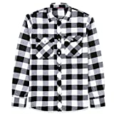J.VER Men's Flannel Plaid Shirts Long Sleeve Regular Fit Button Down Casual White Black Large