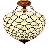 Tiffany Ceiling Fixture Lamp Semi Flush Mount Light W16H15 Inch White Stained Glass Crystal Bead Pear Shade S005 WERFACTORY Parent Living Room Bedroom Study Kitchen Office Island Bar Hallway Dining