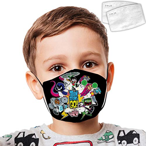 Te-en Ti-Tans Go Face Cover Anit-Dust Windproof Ear Loops Adjustable Facial Decorations Mouth Mas for Children