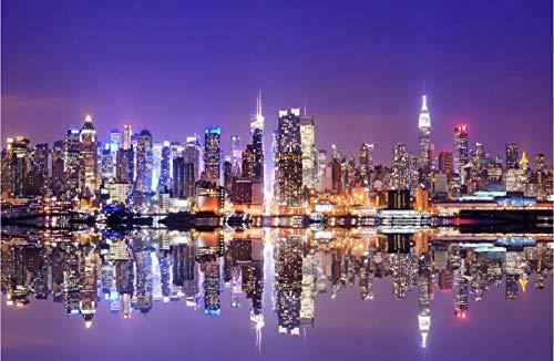LWQHJJJ Rompecabezas De Madera Para Adultos Juguetes Educativos Personalizados Para Niños Ciudad Paisaje Arquitectura De Paisaje Luces De Nueva York-500 tablets
