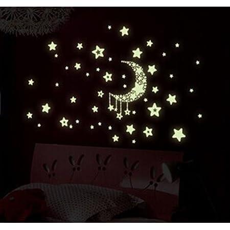 Stonges Nuit Autocollants Sticker Lune Autocollant de Lumière Amovible Autocollants Lueur Dans La Nuit Décorations Murales Lumineux Lune Étoiles Chambres Mural