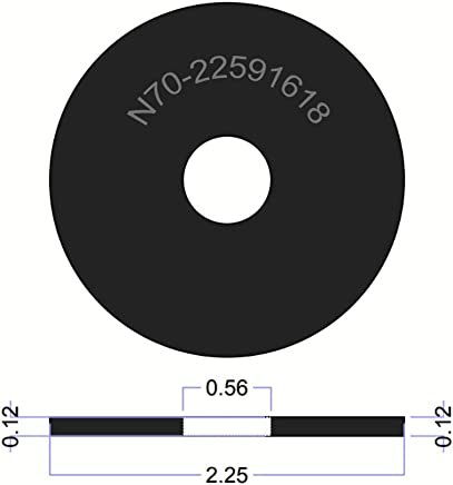 """2 1//4/"""" OD X 9//16/"""" ID X 1//8/"""" Thickness Neoprene Large Rubber Fender Washers"""