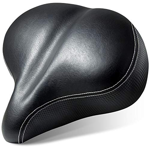 Most Comfortable Bike Seat - Extra Wide Oversized Bicycle Saddle with Super Thick & Soft Foam Padding and Dual Spring Shock Absorbing Design - Universal Fit for Exercise Bike and Outdoor Bikes