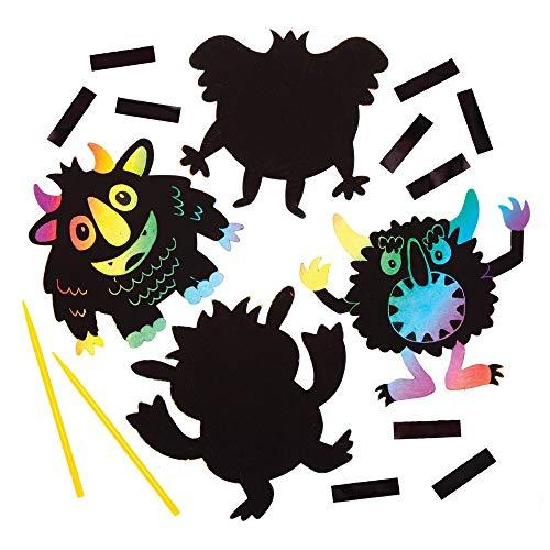 Baker Ross Kratzbild Monster mit Magneten (10 Stück) Halloween Bastelset Scratch Art für Kinder