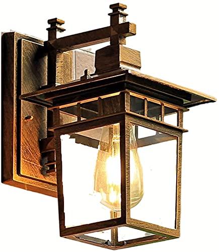 LSNLNN Lámparas de Pared, Linterna de Pared Exterior Carcasa de Aluminio Fundido, con Enchufe E27 de Vidrio Transparente Luces de Pared para Exteriores Dusk To Dawn Accesorio de Iluminación para Porc
