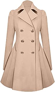 Women's Classic Double Breasted Loose Coat Spring Mid-Long Long Sleeve Lapel Dresses Outwear