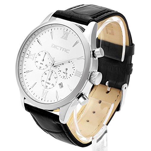 Dictac Multifunktionale Armbanduhr für Herren, aus Leder, mit 6 Zeigern, weiß