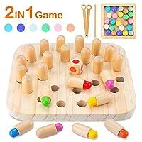CENOVE Holzspielzeug Memory Match Stick Schach, 2 in 1 Holzgedächtnisspiel und Clip Perlen Montessori Spielzeug Geschenk für Kinder ab 3 Jahre