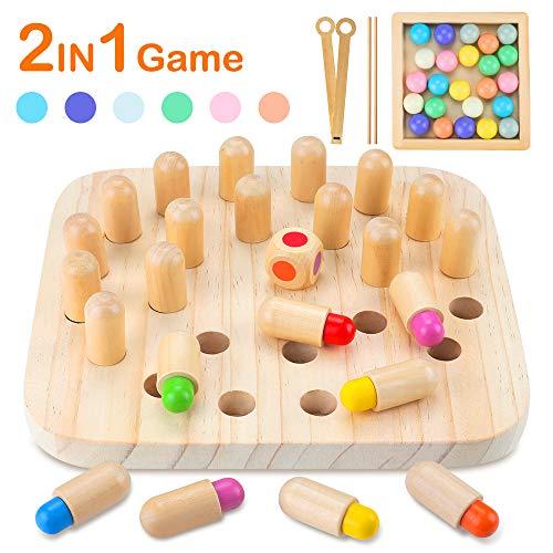 CENOVE Holzspielzeug Memory Match Stick Schach, Holzgedächtnisspiel und Clip Perlen Montessori Spielzeug Geschenk für Kinder ab 3 Jahre