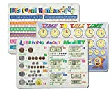 Learning Placemats: Telling Time, Counting Numbers, Learning Money Placemat for Kids   3 Dry Erase Mats Set