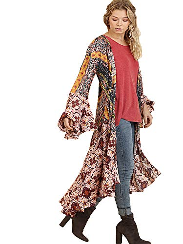 Umgee Womens Ruffled Long Body Kimono with a Multicolored Print, Berry Mix, Large