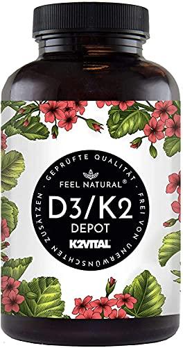 Vitamin D3 + K2 Tabletten - 180 Stück - Hochdosiert mit 5000 I.E. Vitamin D3 und 100 mcg Vitamin K2 pro EINER Tablette - Hochwertig: 99,7+{cf91b26a63c48cffa97af79175047bb1e82f08561a7b695eb018da55232d4e3d} All-Trans MK7 (K2VITAL®) - in Deutschland produziert