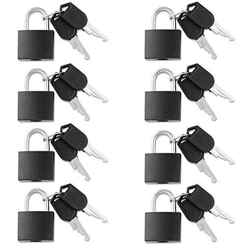 8 Pack Padlock, Small Padlock with Key for The Luggage Lock, Backpack,Gym Locker Lock,Suitcase Lock,Classroom Matching Game and More, Black