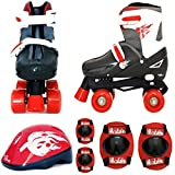 Sk8 Zone By Eurotrade Boys' HW218820 Red Black, Sk8 Zone Quad Kids Roller Boots Safety Pads Helmet Childrens...