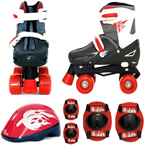 Sk8 Zone By Eurotrade Boys HW218813 Red Black Sk8 Zone Quad Kids Roller Boots Safety Pads Helmet Childrens Skate Set Large 3 6 35 38 EU