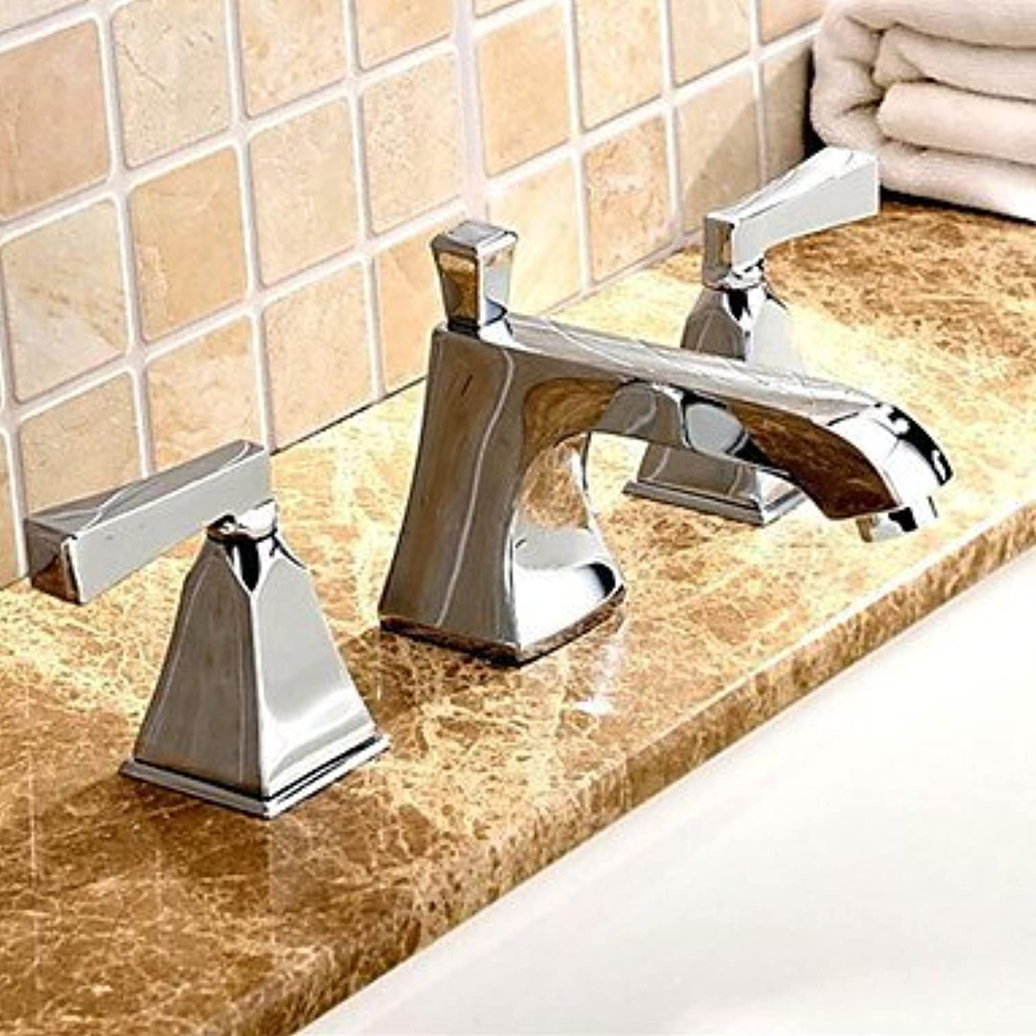 SEEKSUNG Sink Faucet Universal Chrome Two Handle Basin Faucet Three-Hole