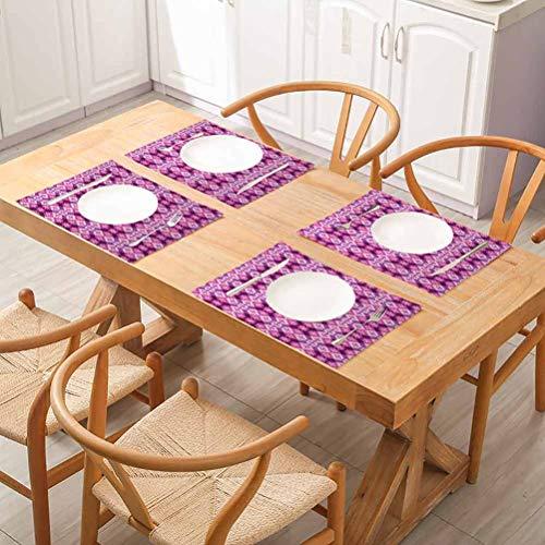 Lot de 4 sets de table abstraites géométriques carrés et rectangulaires style art moderne fushia ho, tables, fêtes et autres occasions spéciales.
