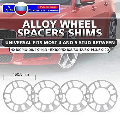 without brand YXA-BGS, 2 Piezas de 3 mm + 5 mm 2PCS Universal de aleación Separadores de Ruedas cuñas Kit for 4x98 4x100 4x108 5x100 5x105 5x108 4x114.3 5x112 5x120 5x114.3
