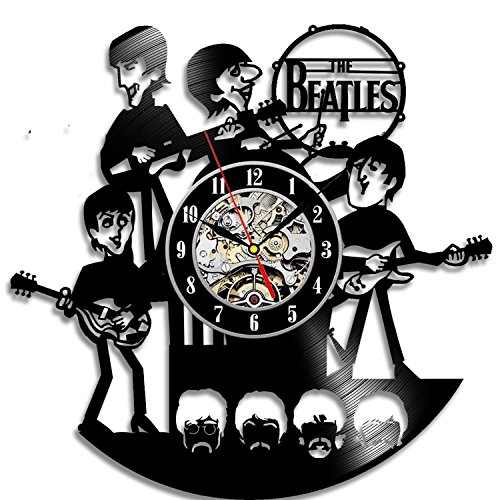 "Meet Beauty Ding Beatles Music Banda Vinilo Record Clock Wall Art Home Decor Reloj de Pared Colgante 12"" Negro Ronda"