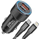 YEONPHOM 20W Cargador Coche USB C Carga Rapido para iPhone 13/12 Pro Max/Mini/11/XS MAX/XR/X/8 Plus/SE,2 Puertos PD&QC 3.0 USB Adaptador Cargador movil de Coche Tipo C con Cable USB C MFi
