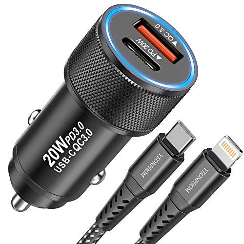 YEONPHOM 20W Caricabatteria Auto USB C,QC3.0&PD Caricatore Rapido Adattatore Caricatore Auto 2 USB con Cavo USB-C a Lightning Certificato MFi per iPhone 12 Pro Max/Mini/11 Pro Max/XS Max/XR/X/8 Plus