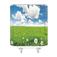 シャワーカーテンナチュラルシーナリーバスルームカーテン防水布バスルームカーテンバスルームデコレーションセット(Size:90x180cm-35x70inch,Color:L3765)