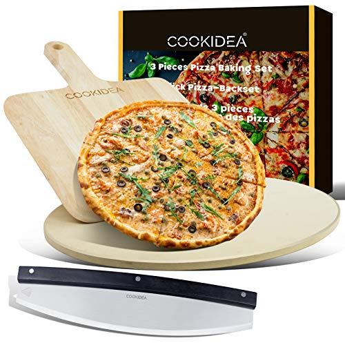 CookIdea Set de 3 moules à pizza pour four et barbecue comprenant une pierre à pizza, un peel et un coupe-pizza pour pizza, pierre a pizza barbecue