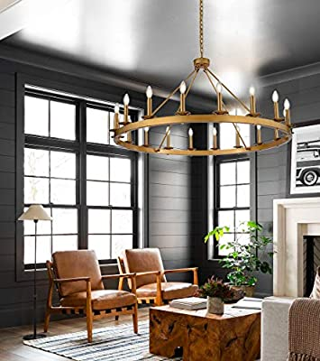 """18-Light Wagon Wheel Chandeliers Farmhouse Wrought Iron 47.24"""" Diam Round Pendant Lights Industrial Candle Style Chandelier Lighting Gold"""