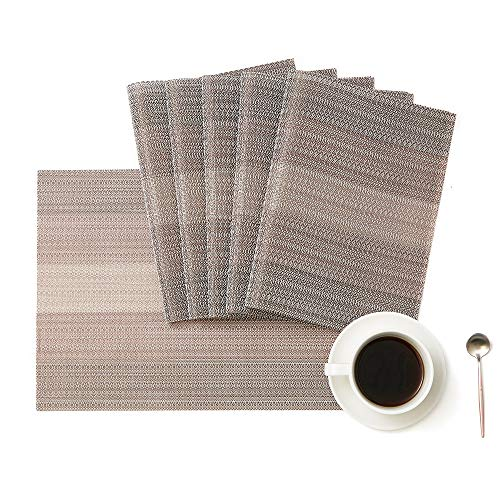 DOLOPL Placemats Set of 4 Easy to Clean Non Slip Heat Resistant Washable Woven Vinyl Placemat Farmhouse Modern Christmas Table Mats for Kitchen Dining Dinner Table
