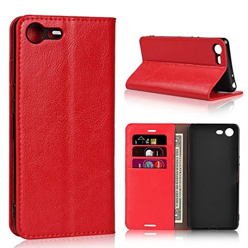 """Sony Xperia Ace / XZ4 Compact SO-02L 5.0\"""" ケース 手帳型 Zouzt 本革レザー 財布型カバー ソフトケース カード収納 横置きスタンド機能 二つ折り ベルトなし マグネットなし 軽量 手作り 耐久性"""