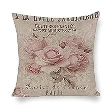 Funda de almohada decorativa, estilo shabby chic, funda de cojín de 45,7 x 45,7 cm, funda de almohada decorativa para el hogar y la oficina