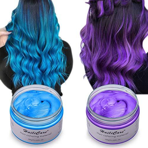 Haarfarbe Wachs, HailiCare 2x120g Temporäre Haarfarbe Farbstoff, DIY Haar Styling Cream, Natürliche Frisur Wachs Haar Styling Wachs Haar Cream für Party, Cosplay, Weihnachten, Geburtstag (Blau + Lila)