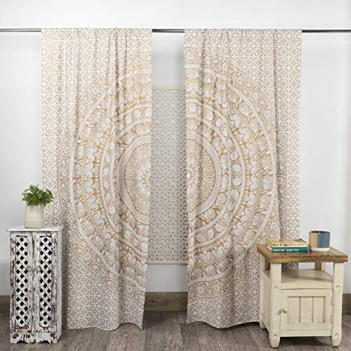 Popular Handicrafts Indian Hippie Bohemian Beautiful Elephant Mandala Curtain Panels White Gold