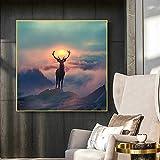 Cuadro de lienzo de ciervo elfo del bosque nórdico, carteles e impresiones de paisaje de animales, cuadro artístico de pared para sala de estar, decoración del hogar, marco interior de 40x40 cm