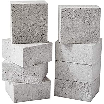 Non-Toxic, Chemical-Free Grey Grill Brick 8 Pack. Best Reusable BBQ Cleaning Block for Flattops, Grills and Smokers. Non Scratch Pumice Stone is the Perfect Tool for Scouring Griddles and Barbecues