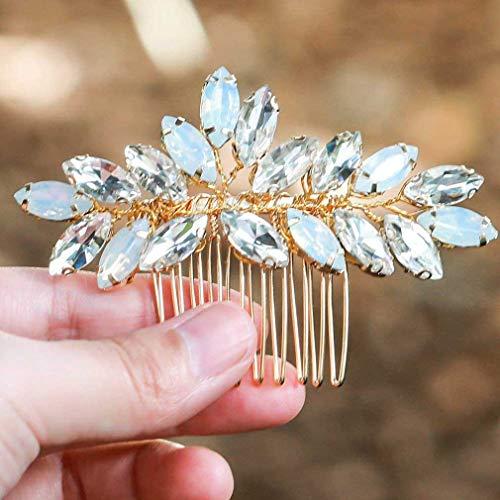 Handcess Hochzeit Haarkämme Opal Strass Kristall Gold Blume Braut Haarspangen für Braut und Brautjungfern (2 Stück)