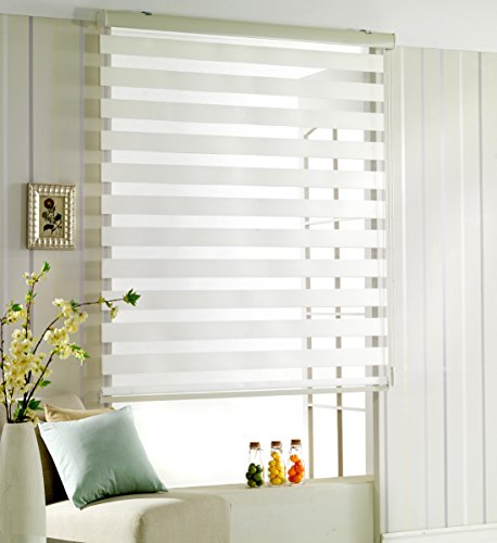Foiresoft Custom Cut to Size, [Winsharp Woodlook 91, White, W 67 x H 78 inch] Zebra Roller Blinds, Dual Layer Shades, Sheer or Privacy Light Control, Day and Night Window Drapes, 20 to 110 inch Wide