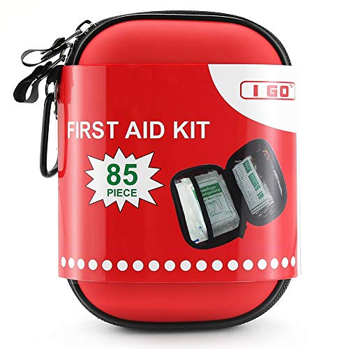 I GO 85 Pieces Hard Shell Mini Compact First Aid Kit, Small Personal Emergency...