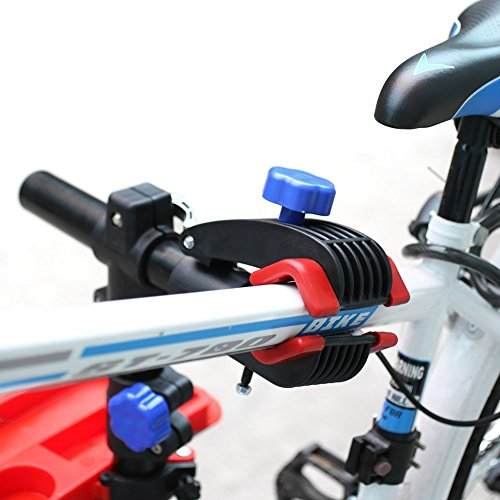 amzdeal Fahrradmontageständer Reparaturständer mit Werkzeugablage – klappbar & höhenverstellbaron 115-170cm – schwarzer Montageständer vierbeinig Fahrradmontageständer falter Montageständer bis 50kg - 5
