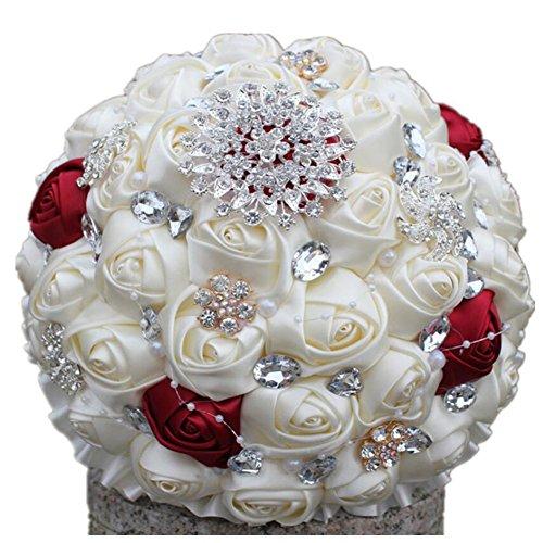 Romántico ramo de boda, broche de cuentas de color crema, ramo de flores de novia, ramo de flores artificiales hecho a mano, ramo de flores para damas de honor, ramo de flores para bodas, de