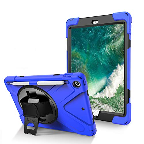 BlinkCat iPad Case for iPad 5th/6th Generation 9.7' 2017/2018, Full Body Rugged Drop Protection Hybrid Shockproof Protective with Kickstand / Hand Strap+Shoulder Strap / Pencil Holder - Blue