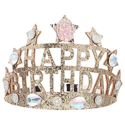 Beaupretty Diadema de Feliz Cumpleaños Niños: Tiara de Estrella de Diamantes de Imitación de Cristal para Niña Brillo- Accesorios para El Cabello con Suministros de Regalo de