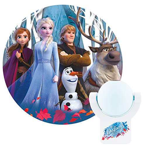 Projectables Frozen 2 LED Night Light, Plug-in, Dusk-to-Dawn Sensor, UL-Listed, 1 Image of Elsa, Anna, and Olaf on Ceiling, Wall, or Floor, Ideal for Bedroom, Nursery, 45027