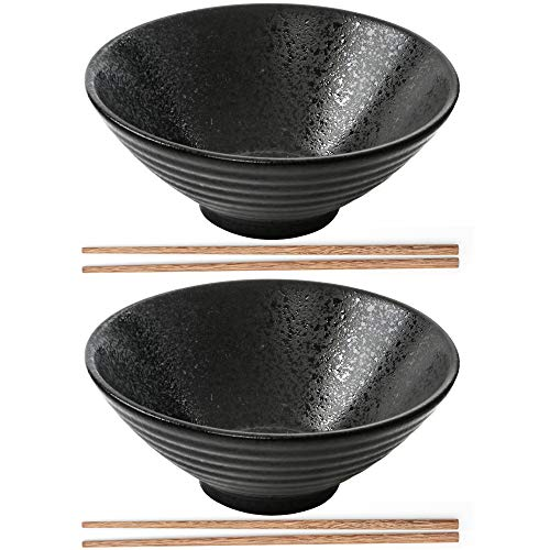 2X Japanischer Ramen Schüssel, Große Ramen Schale mit Essstäbchen 900 ml, Vintige Suppenschüssel Ramen Bowl aus Porzellan, Persönlichkeit Nuddelschale für Udon, Nudeln, Müsli, Vorspeise(Schwarz)