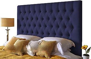 H-Cube meble wyściełane łóżko Divan zagłówek Turyn dopasowanie/diamentowe guziki 100 cm seria montowana na ścianie (granat...