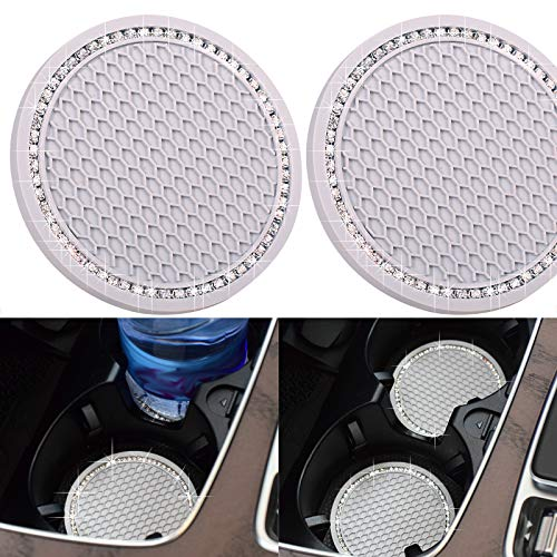 DBlosp Universal Vehicle Bling Cup Holder Insert Coaster Car Interior Accessories-2.75 inch Silicone Anti Slip Crystal Rhinestone Car Coaster-Universal (Pack of 2,Gray)
